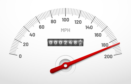 Car speedometer dashboard. Speed meter panel with odometer, miles counter and urgency dial isolated vector concept